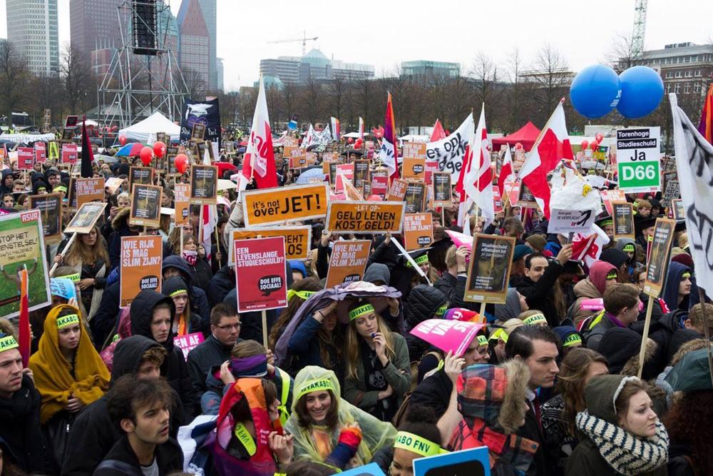Studenten protesteren tijdens de Landelijke Actieweek