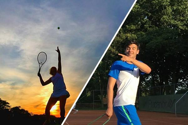 meisje en jongen die tennissen