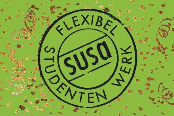 susa logo naamswissel flexibel studentenwerk confetti groen